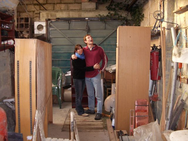 Mark and Sarah survey the workshop